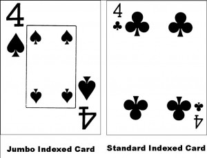 Jumbo Index and Standard index cards
